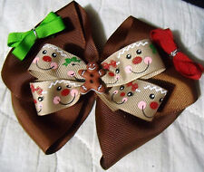 girls boutique bow Christmas ginger bread man hand made, grosgrain ribbon