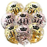"10pcs 12""Gold Birthday Crown Theme Balloons 16/18/21/30/40/50/60th Party Decor"