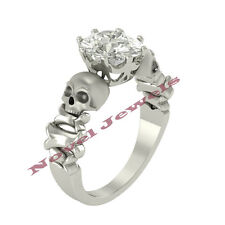 Two Skull Solitaire Bridal Ladies White Gold Plated Engagement Ring Wedding