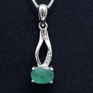 World Class .95ctw Colombian Emerald & Diamond Cut White Sapphire 925 Pendant