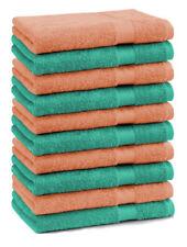 Lot de 10 serviettes débarbouillettes Premium couleur: vert émeraude & orange
