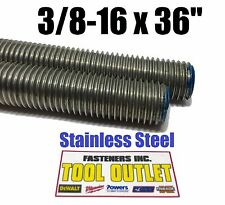 "(Qty 5 Sticks) 3/8-16 x 36"" Stainless Steel Threaded Rod 304 Stainless AllThread"