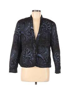 Coldwater Creek Womens Embroidered Blazer Size 10-12 Petite Medium Black Purple
