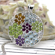 Multi Color Studded Natural Stone Statement Pendants 925 Silver Free Chain