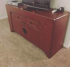 ORIGINAL VINTAGE Asian Chinese Red Moon Face TV Stand/Buffet Cabinet