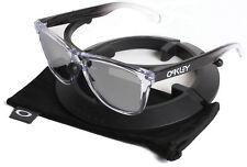 New Oakley Frogskins Alpine Storm Black Clear Sunglasses / Chrome Iridium Lenses