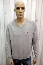 TOMMY HILFIGER Taglia M Uomo Maglione Cotone Sweater Pullover Maglietta Pull