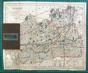 1836 (1844) Antique Folding Map of Surrey - J & C. Walker