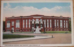 1920 Postcard: 'Academy and Convent - Lake Charles, Louisiana LA'