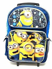"""Despicable Me Minions 3 - 16"""" inch Canvas Blue Rolling Backpack Licensed Product"""