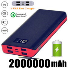 NEW 2000000mAh Portable Power Bank LCD 4USB Battery Charger for Mobile Phone LED