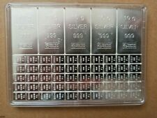 100 Gramm Valcambi SA Silbertafel Edelmetall 999 Feinsilber 5x10 u.50x1 Gramm