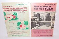Lot of 2 Easi-Bild Vintage How to Build or Enclose Porch, Build One Car Garage