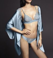 New LA PERLA Light Blue Silk Macrame Short Night Gown Launge Robe Top One Size