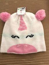 Nwt Kids Hat Pink Unicorn Pom Pom Beanie Cap Childrens Headwear