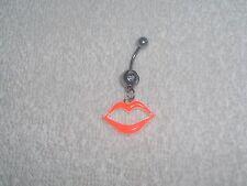 Neon Orange Hot Lips Belly Button Navel Ring Body Jewelry Piercing 14g Sale