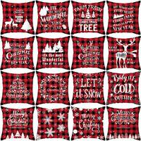 "18""Letter Print Pillow Case Xmas Tree Elk Throw Cushion Cover Sofa Home Decor Ne"