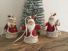 3x ROSSI in ceramica decorazioni albero di Natale Vintage Gisela Graham DA APPENDERE BABBO NATALE