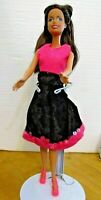BARBIE DOLL BROWN HAIR PINK TOP BLACK VELVET SKIRT & PINK HIGH HEELS