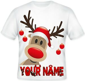 Girls Boys Kids Personalised RUDOLPH REINDEER Christmas T Shirt Gift idea