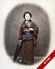 JAPANESE WOMAN IN TRADITIONAL CLOTHING MOOS'MIE PAINTING ART REAL CANVAS PRINT
