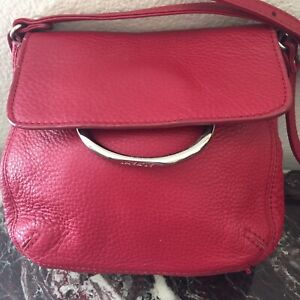 ALFANI Red Pebble Leather Small Crossbody Bag with A Silver Ring Flap Closure