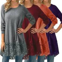 Women Long Sleeve Lace Hem Baggy Loose Tunic Top Blouse Pullover Shirt Jumper GI