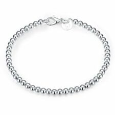 Fashion 925Sterling Solid Silver Jewelry 4MM Beads Bracelet For Women H198