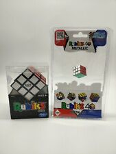 Rubiks Cube Set of 2 The Original Hasbro and World's Smallest Metallic Puzzle