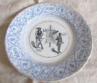 Antique French J Veillard Bordeux Rebus puzzle collectors cabinet plate c1800s