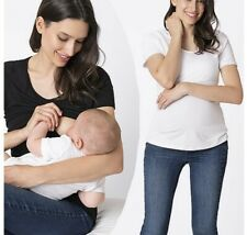 New Seraphine Maternity & Nursing T Shirts Twin Pack Black & White RRP £49 Small
