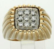 Mens diamond pinky ring 14K 2 tone gold 9 round brilliants textured .32CT Sz 7.5