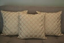 Cushion cover handmade set of 3 18''x18'' linen embroidered geometric pattern