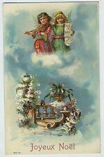 embossed Angel Fantasy Merry Christmas violin music original old 1910s postcard