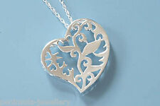 """Sterling Silver Filigree Heart Pendant and 18"""" Chain, Gift Boxed Necklace"""