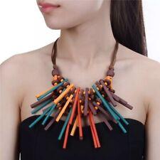 Beautiful Geometric Boho Multicoloured Wood Bead & Faux Leather Necklace