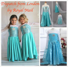 Girls Elsa Costume Princess Party Dress Fancy Cosplay Outfit