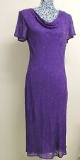 Inspirations Purple Beads Embellished Gatsby Occasion Evening Party Dress UK 12