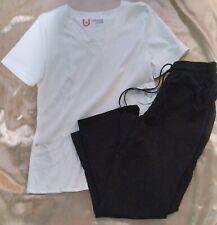 Women's Size Small New Scrubs set- White Urbane Top & Black Scrubstar Pants Nwt!