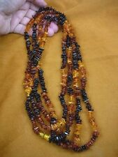 """(PB-403) ORANGE baltic AMBER CHIP chips Poland beaded Jewelry 76"""" long NECKLACE"""