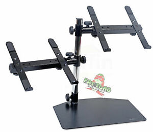Double DJ Laptop Stand - 2 Tier PA Equipment PC Table Monitor CD Player Speakers