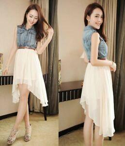 Asymmetrical Hem Denim Chiffon Dress Ladies Fashion T/Shirt  casual Dress