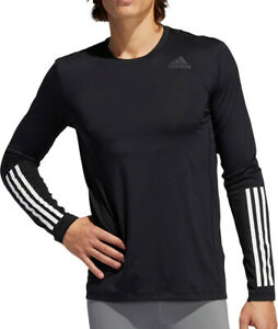 adidas Tech Fit 3 Stripes Fitted Long Sleeve Mens Training Top - Black