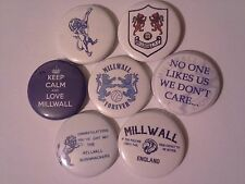 7 collectable Millwall FC 25mm pin button badges 1 inch The Den South Bermondsey