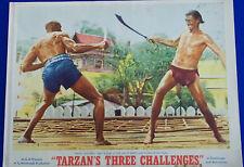 TARZAN'S THREE CHALLENGES (1963) Lobby Card Jock Mahoney & Woody Strode combat