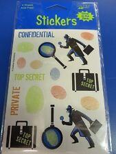 Top Secret Agent Detective Spy Birthday Party Favor Scrapbook Glow Dark Stickers
