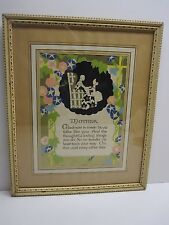 Mother Motto 1930 Art Publishing Company Chicago Print Framed With Glass