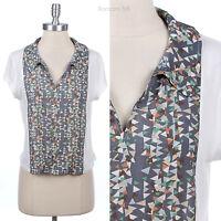 Women's Short Sleeve Blouse Collared V Neck Shirt Top Geometric Prints XS S M L