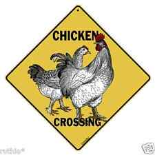 """Chicken Metal Crossing Sign 16 1/2"""" x 16 1/2"""" Diamond shape made in USA #247"""