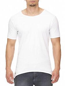 MADDU Herren Kurzarm Basic T-Shirt Oversized Weiß Round Lang Short Sleeve NEU